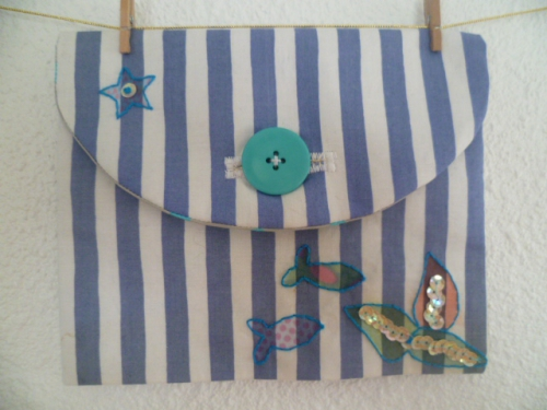 swap, plage,mer,fleur de lotus,carte,scrap,couture,trousse