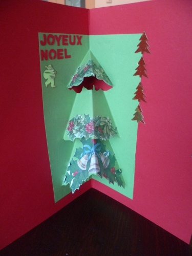 défis de l'amitié,fleur de lotus,scrap noël,carte de noël, sapin pop-up
